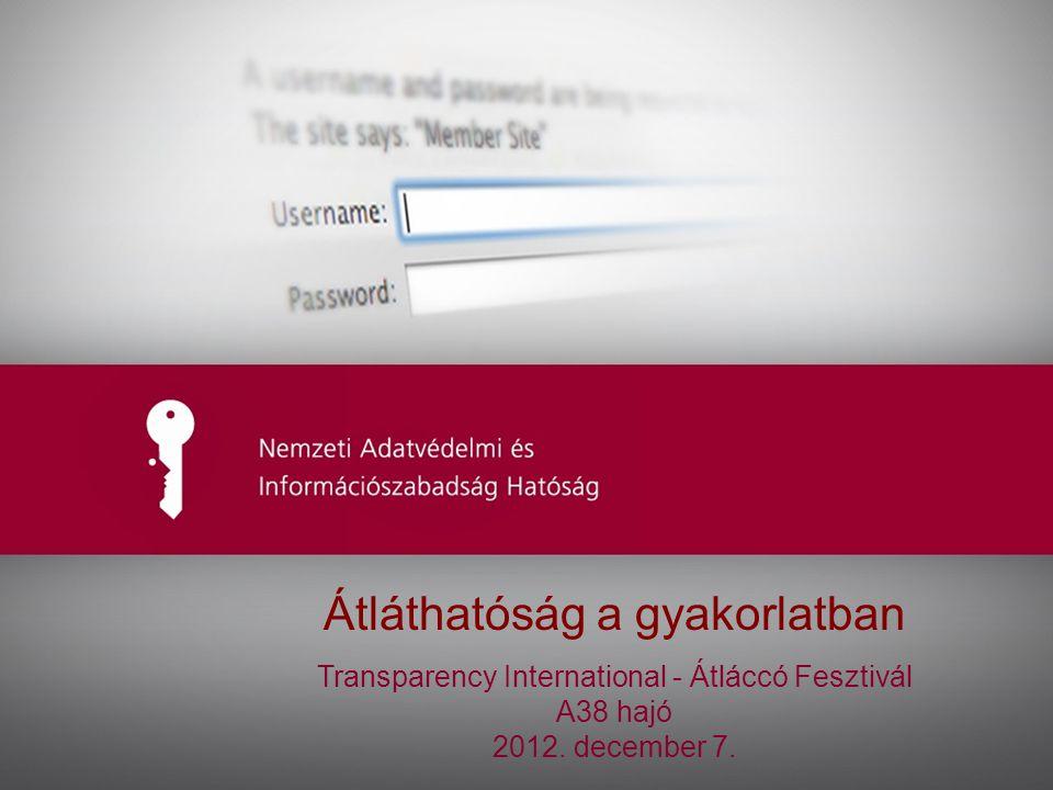 1 Ide kerülhet az előadás címe Átláthatóság a gyakorlatban Transparency International - Átláccó Fesztivál A38 hajó 2012.
