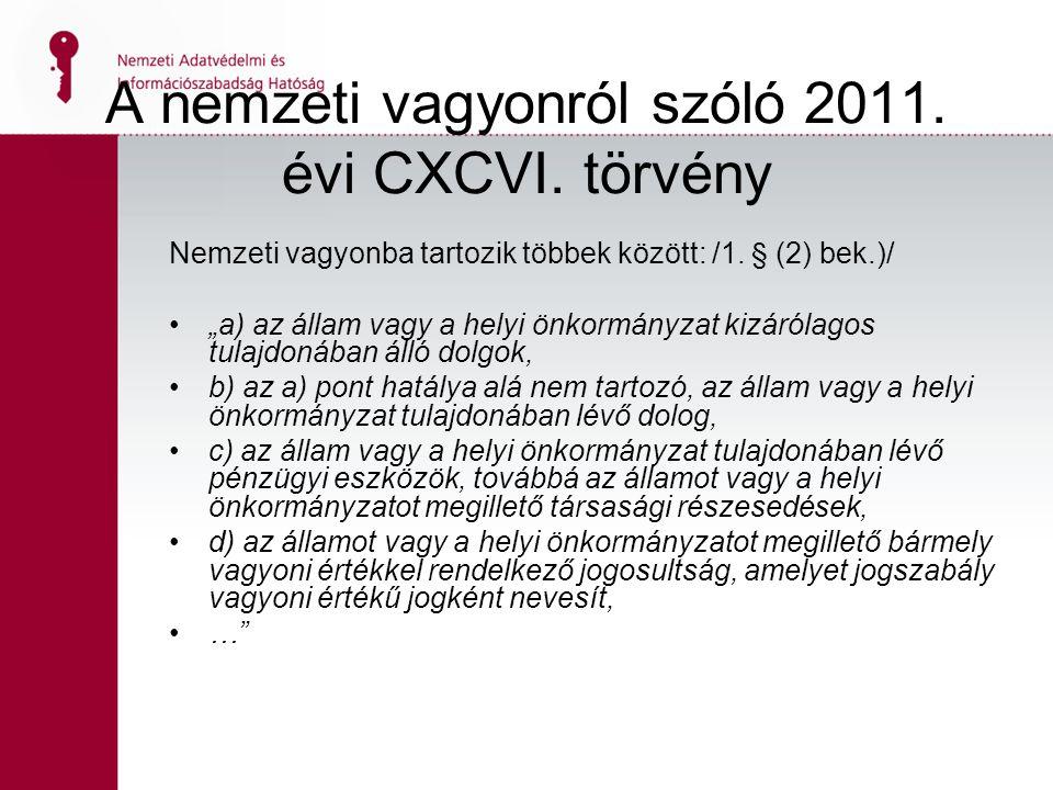 14 A nemzeti vagyonról szóló 2011. évi CXCVI. törvény Nemzeti vagyonba tartozik többek között: /1.