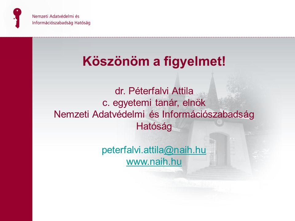 18 Köszönöm a figyelmet. dr. Péterfalvi Attila c.
