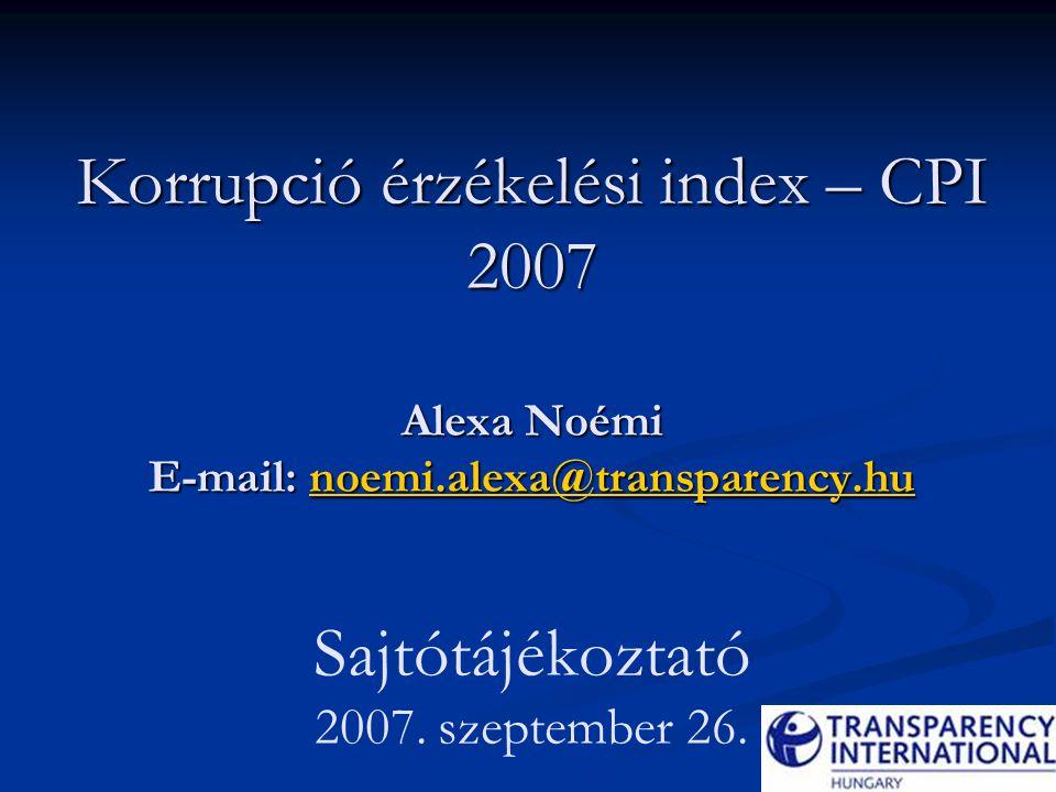 Korrupció érzékelési index – CPI 2007 Alexa Noémi E-mail: noemi.alexa@transparency.hu Korrupció érzékelési index – CPI 2007 Alexa Noémi E-mail: noemi.alexa@transparency.hu Sajtótájékoztató 2007.