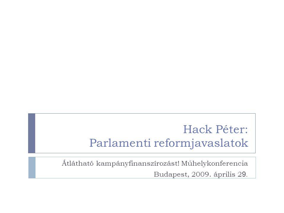 Hack Péter: Parlamenti reformjavaslatok Átlátható kampányfinanszírozást! Műhelykonferencia Budapest, 2009. április 2 9.