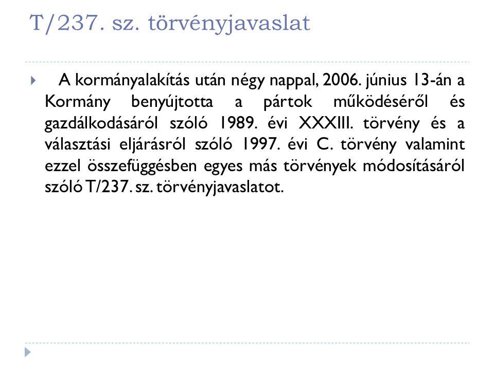 T/237. sz. törvényjavaslat  A kormányalakítás után négy nappal, 2006. június 13-án a Kormány benyújtotta a pártok működéséről és gazdálkodásáról szól