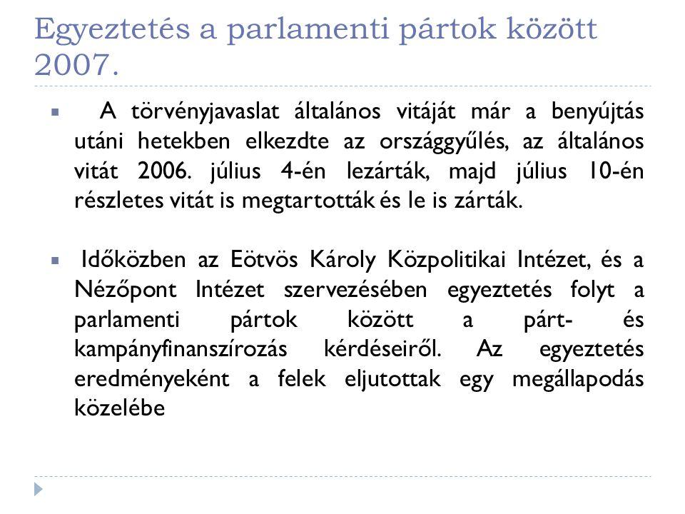 Egyeztetés a parlamenti pártok között 2007.  A törvényjavaslat általános vitáját már a benyújtás utáni hetekben elkezdte az országgyűlés, az általáno