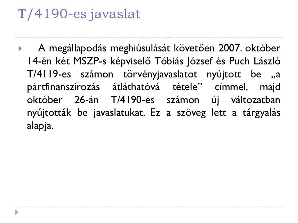 T/4190-es javaslat  A megállapodás meghiúsulását követően 2007. október 14-én két MSZP-s képviselő Tóbiás József és Puch László T/4119-es számon törv
