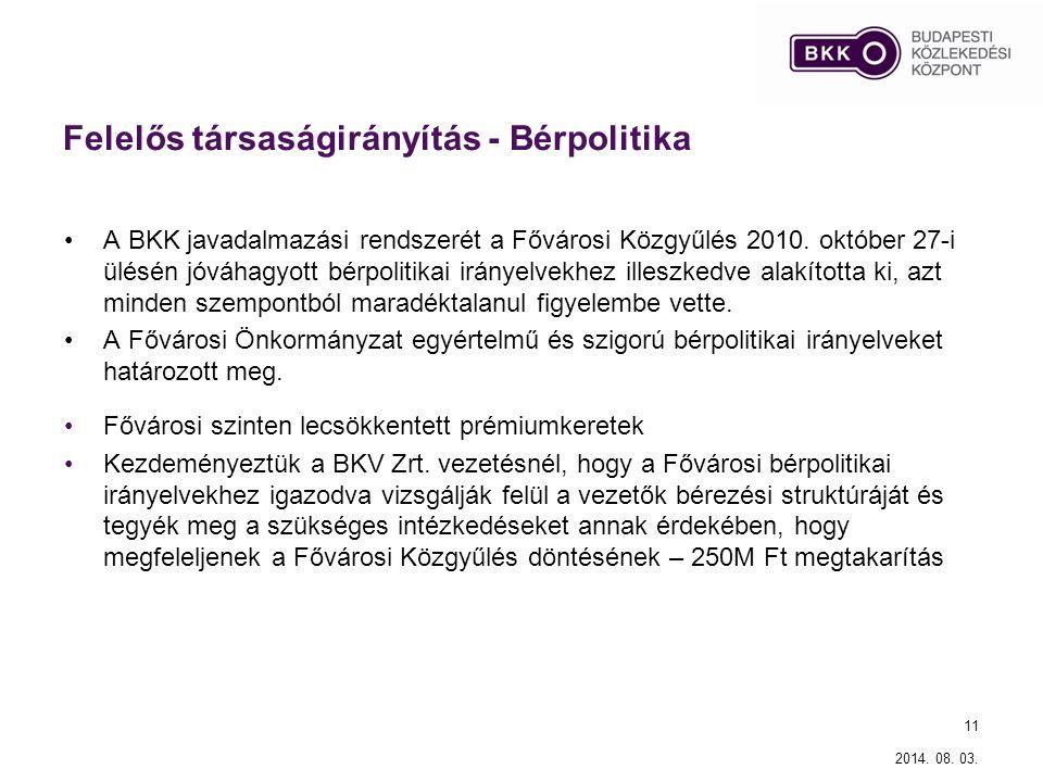 Felelős társaságirányítás - Bérpolitika A BKK javadalmazási rendszerét a Fővárosi Közgyűlés 2010. október 27-i ülésén jóváhagyott bérpolitikai irányel