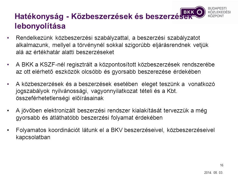 Hatékonyság - Új közszolgáltatási modell és közszolgáltatási szerződéses struktúra kialakítása A BKV Zrt.