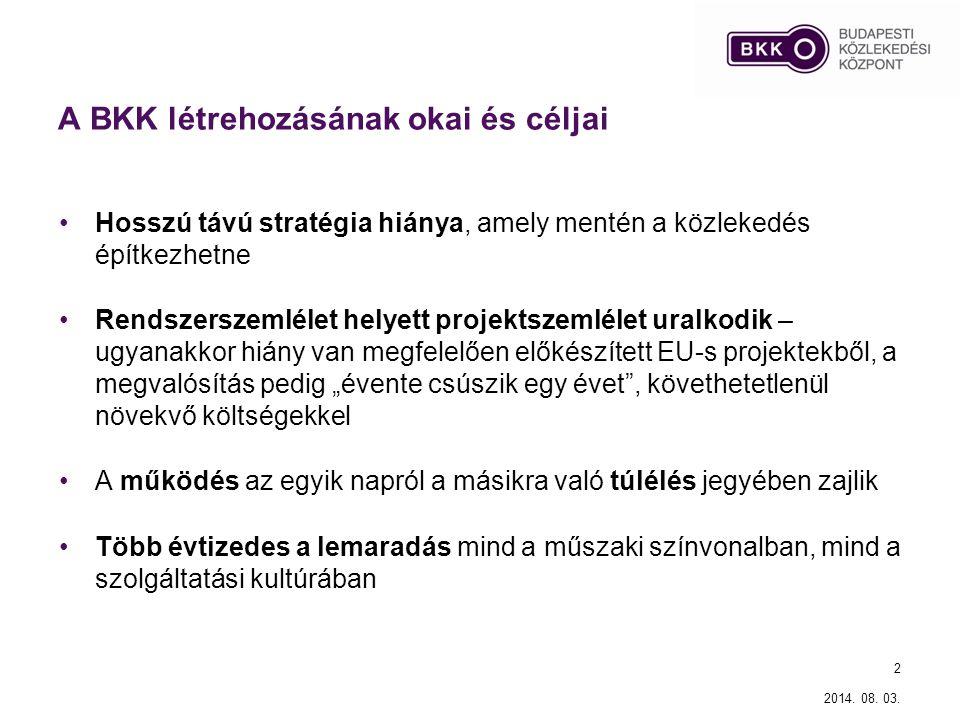 2014. 08. 03. 2 A BKK létrehozásának okai és céljai Hosszú távú stratégia hiánya, amely mentén a közlekedés építkezhetne Rendszerszemlélet helyett pro