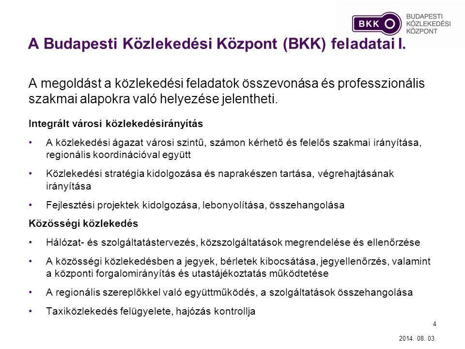 A Budapesti Közlekedési Központ (BKK) feladatai I. A megoldást a közlekedési feladatok összevonása és professzionális szakmai alapokra való helyezése