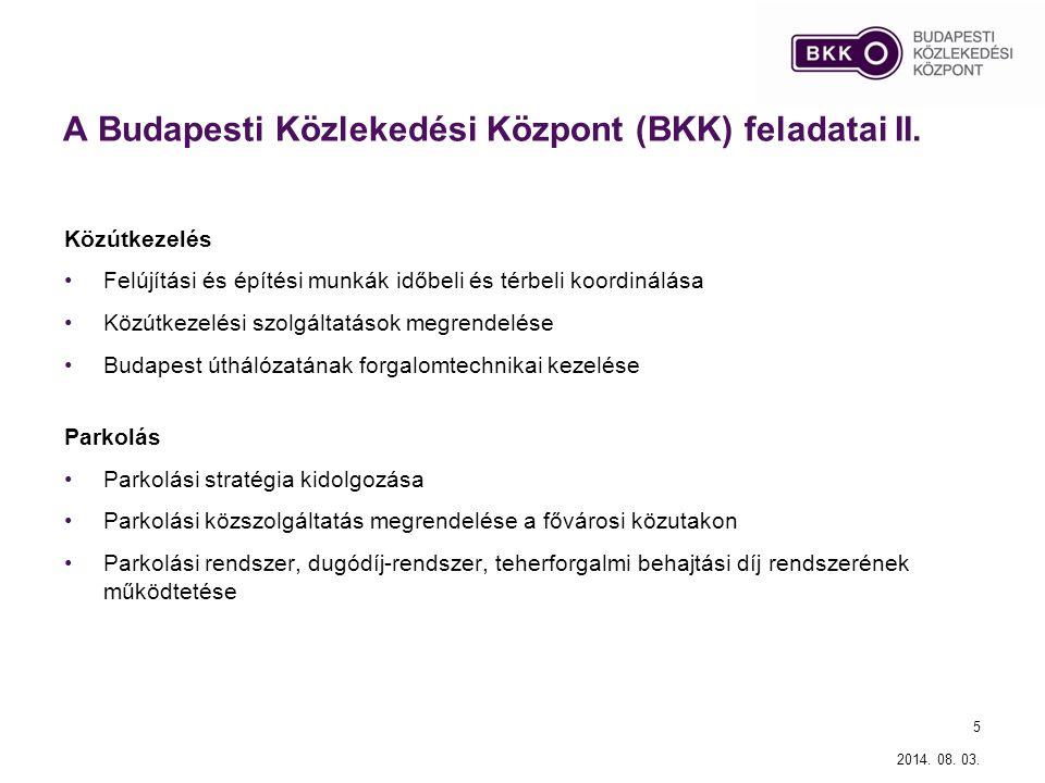 A Budapesti Közlekedési Központ (BKK) feladatai II. Közútkezelés Felújítási és építési munkák időbeli és térbeli koordinálása Közútkezelési szolgáltat