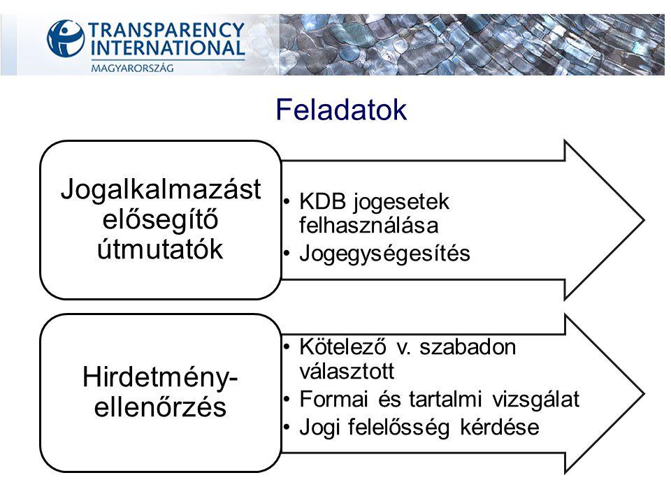 Feladatok KDB jogesetek felhasználása Jogegységesítés Jogalkalmazást elősegítő útmutatók Kötelező v.