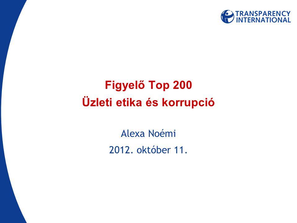 Figyelő Top 200 Üzleti etika és korrupció Alexa Noémi 2012. október 11.