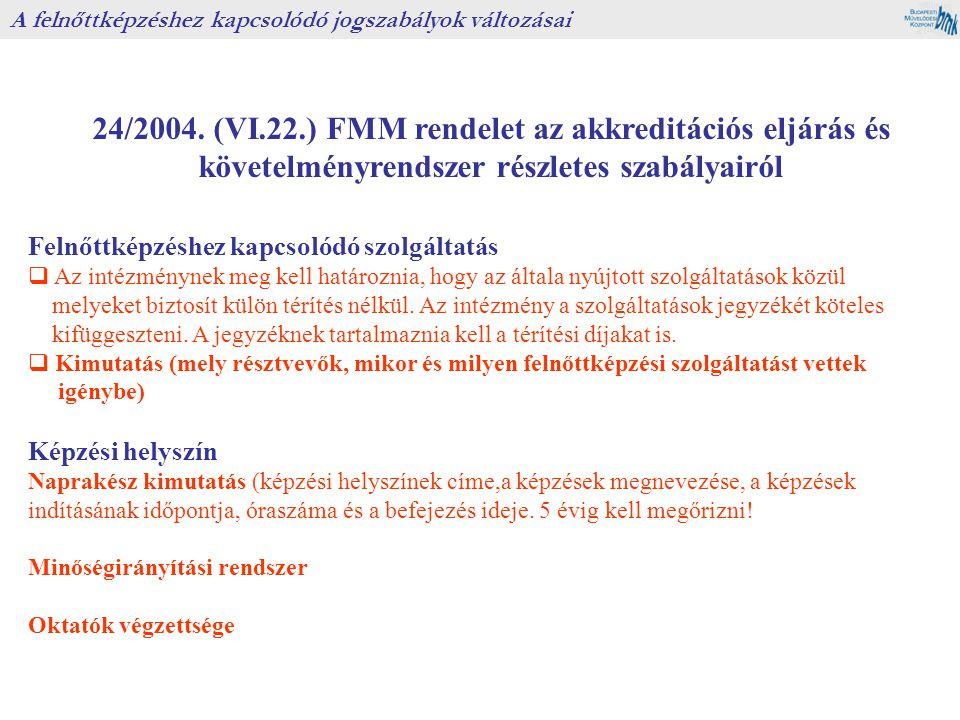 24/2004. (VI.22.) FMM rendelet az akkreditációs eljárás és követelményrendszer részletes szabályairól A felnőttképzéshez kapcsolódó jogszabályok válto