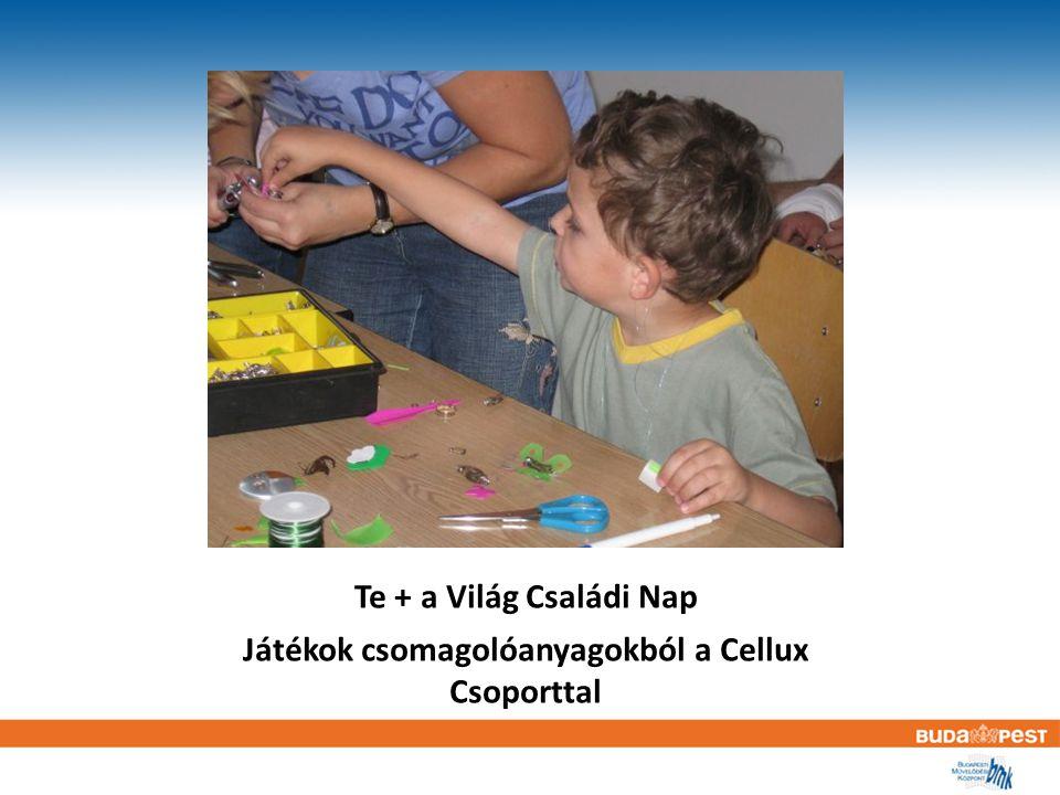 Te + a Világ Családi Nap Játékok csomagolóanyagokból a Cellux Csoporttal