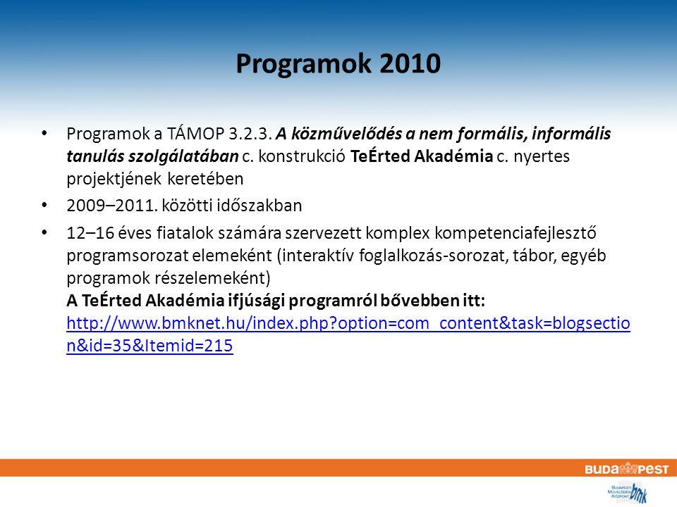 Programok 2010 Programok a TÁMOP 3.2.3.