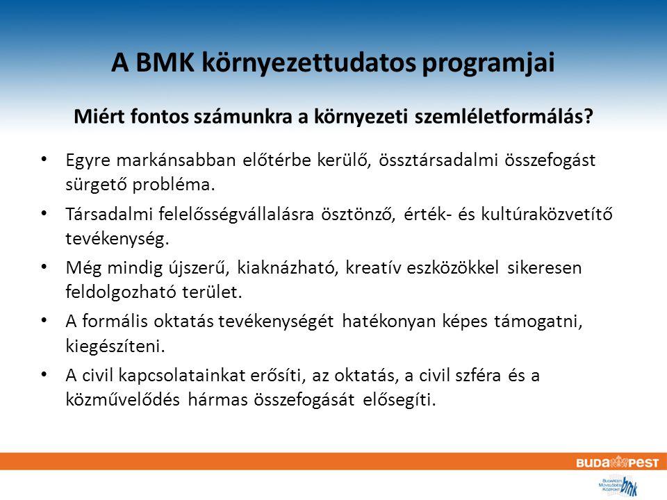 A BMK környezettudatos programjai Miért fontos számunkra a környezeti szemléletformálás.