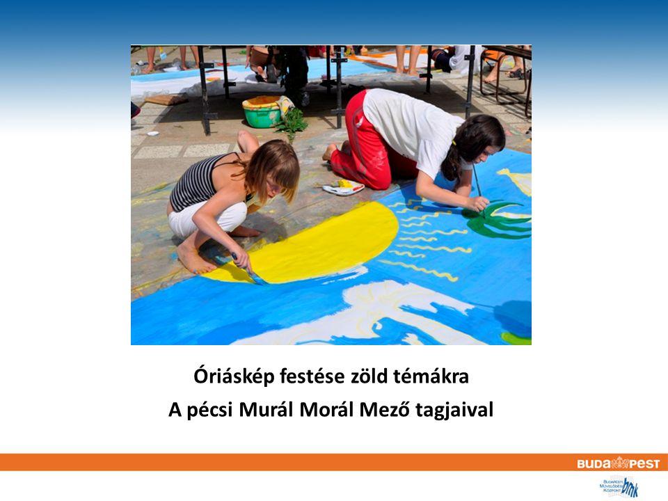 Óriáskép festése zöld témákra A pécsi Murál Morál Mező tagjaival