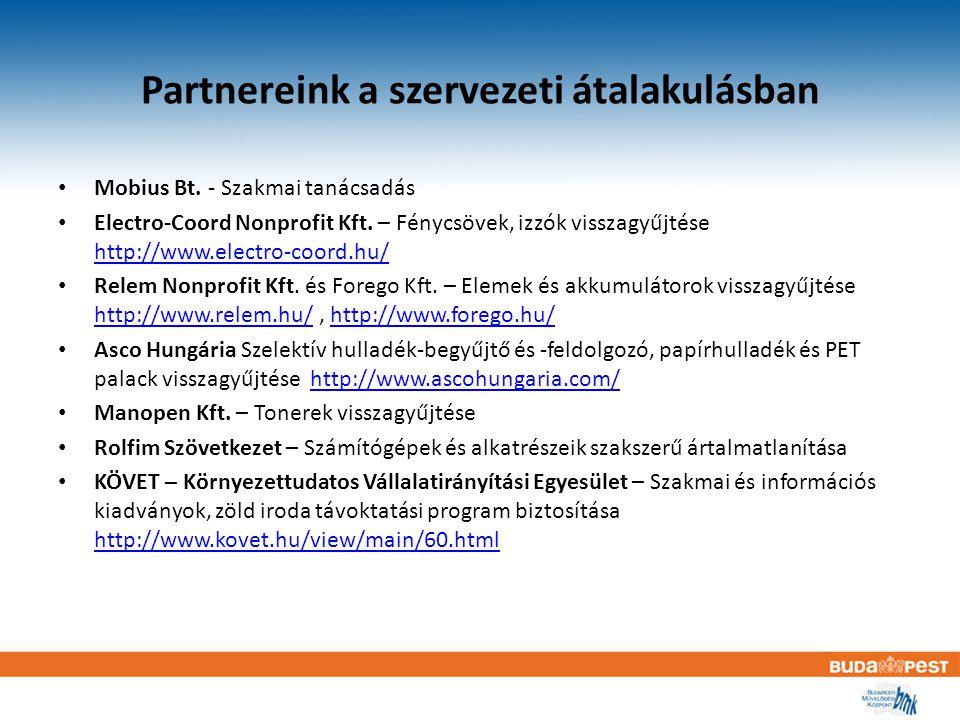 Partnereink a szervezeti átalakulásban Mobius Bt. - Szakmai tanácsadás Electro-Coord Nonprofit Kft.