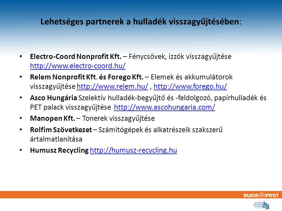 Lehetséges partnerek a hulladék visszagyűjtésében: Electro-Coord Nonprofit Kft.