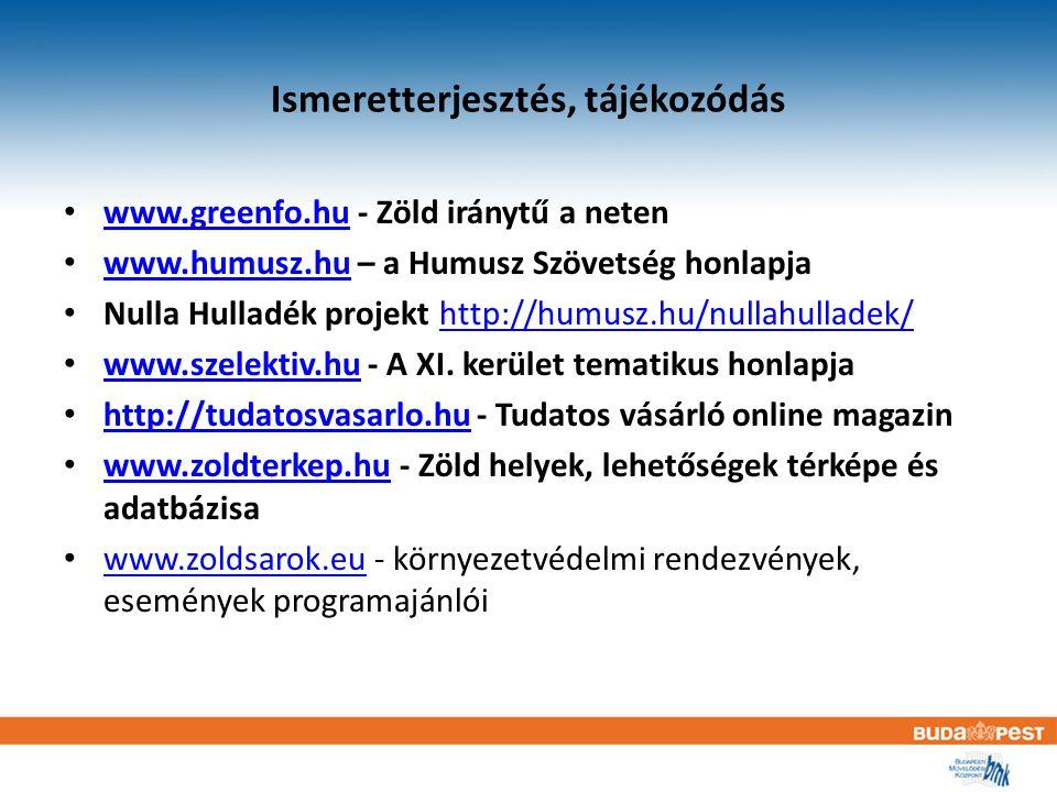 Ismeretterjesztés, tájékozódás www.greenfo.hu - Zöld iránytű a neten www.greenfo.hu www.humusz.hu – a Humusz Szövetség honlapja www.humusz.hu Nulla Hulladék projekt http://humusz.hu/nullahulladek/http://humusz.hu/nullahulladek/ www.szelektiv.hu - A XI.