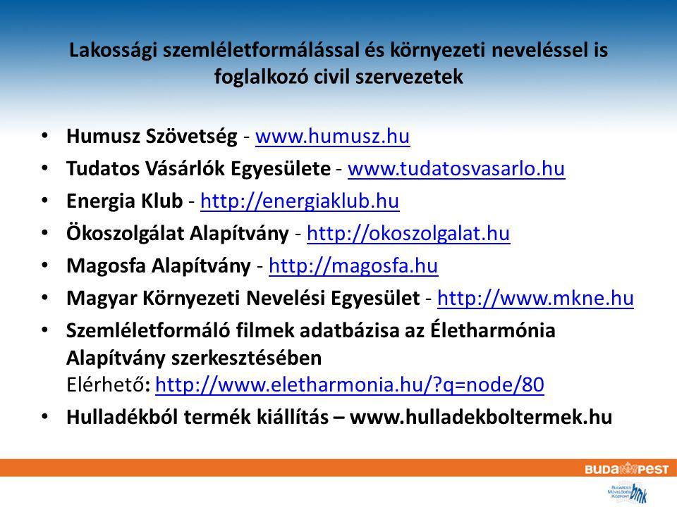 Lakossági szemléletformálással és környezeti neveléssel is foglalkozó civil szervezetek Humusz Szövetség - www.humusz.huwww.humusz.hu Tudatos Vásárlók Egyesülete - www.tudatosvasarlo.huwww.tudatosvasarlo.hu Energia Klub - http://energiaklub.huhttp://energiaklub.hu Ökoszolgálat Alapítvány - http://okoszolgalat.huhttp://okoszolgalat.hu Magosfa Alapítvány - http://magosfa.huhttp://magosfa.hu Magyar Környezeti Nevelési Egyesület - http://www.mkne.huhttp://www.mkne.hu Szemléletformáló filmek adatbázisa az Életharmónia Alapítvány szerkesztésében Elérhető: http://www.eletharmonia.hu/ q=node/80http://www.eletharmonia.hu/ q=node/80 Hulladékból termék kiállítás – www.hulladekboltermek.hu