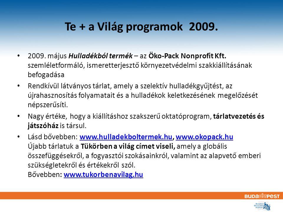 Te + a Világ programok 2009. 2009. május Hulladékból termék – az Öko-Pack Nonprofit Kft.