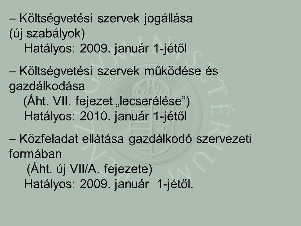 – Költségvetési szervek jogállása (új szabályok) Hatályos: 2009.