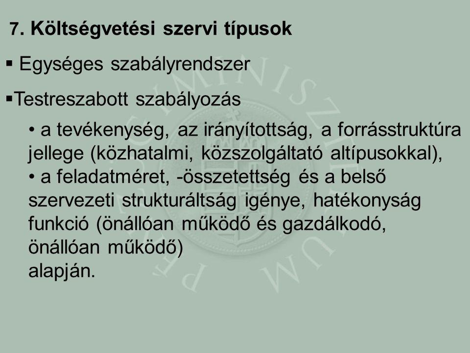 7. Költségvetési szervi típusok  Egységes szabályrendszer  Testreszabott szabályozás a tevékenység, az irányítottság, a forrásstruktúra jellege (köz