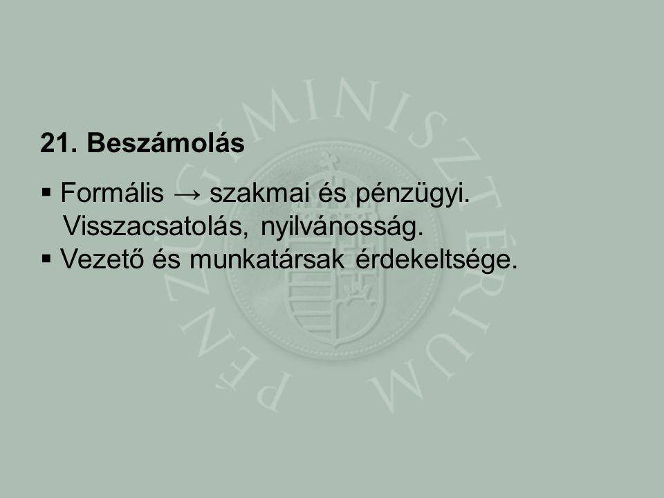 21.Beszámolás  Formális → szakmai és pénzügyi. Visszacsatolás, nyilvánosság.