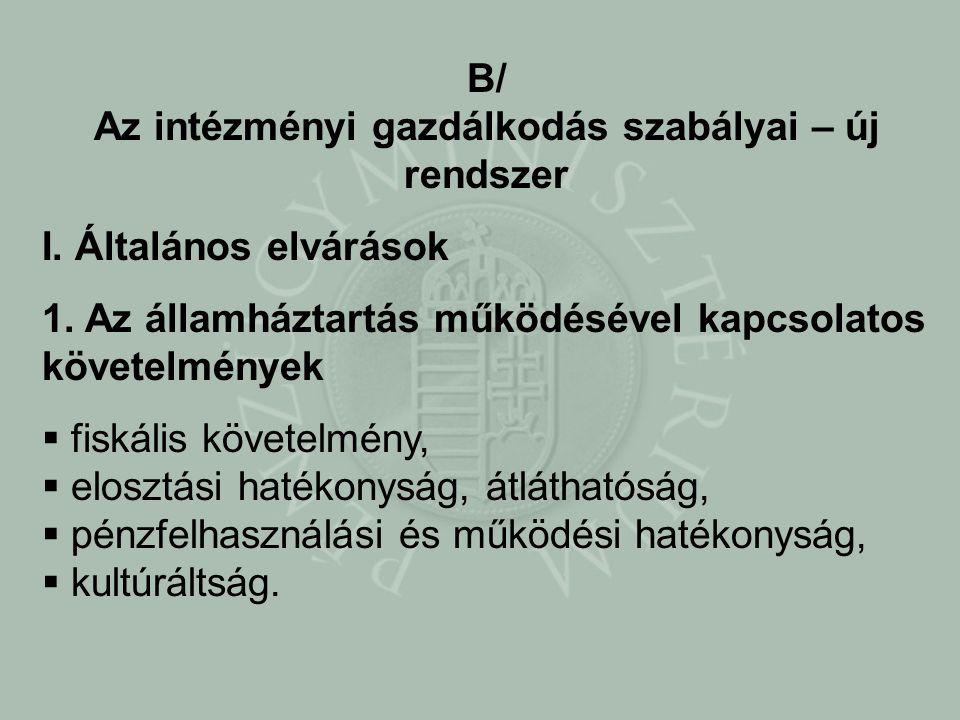 B/ Az intézményi gazdálkodás szabályai – új rendszer I.