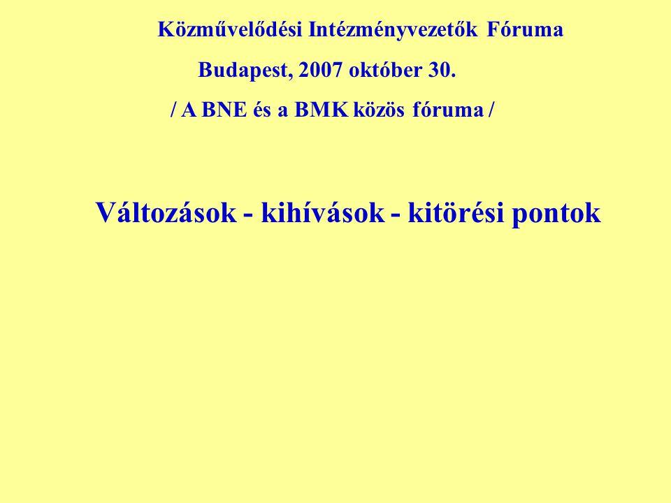 Közművelődési Intézményvezetők Fóruma Budapest, 2007 október 30.
