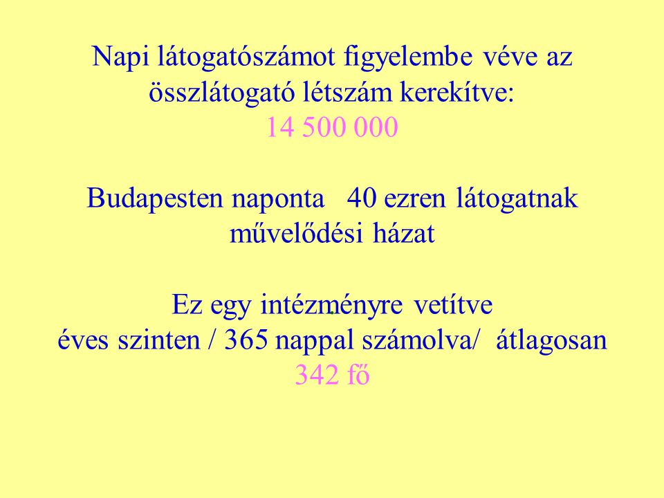 Napi látogatószámot figyelembe véve az összlátogató létszám kerekítve: 14 500 000 Budapesten naponta 40 ezren látogatnak művelődési házat Ez egy intézményre vetítve éves szinten / 365 nappal számolva/ átlagosan 342 fő.
