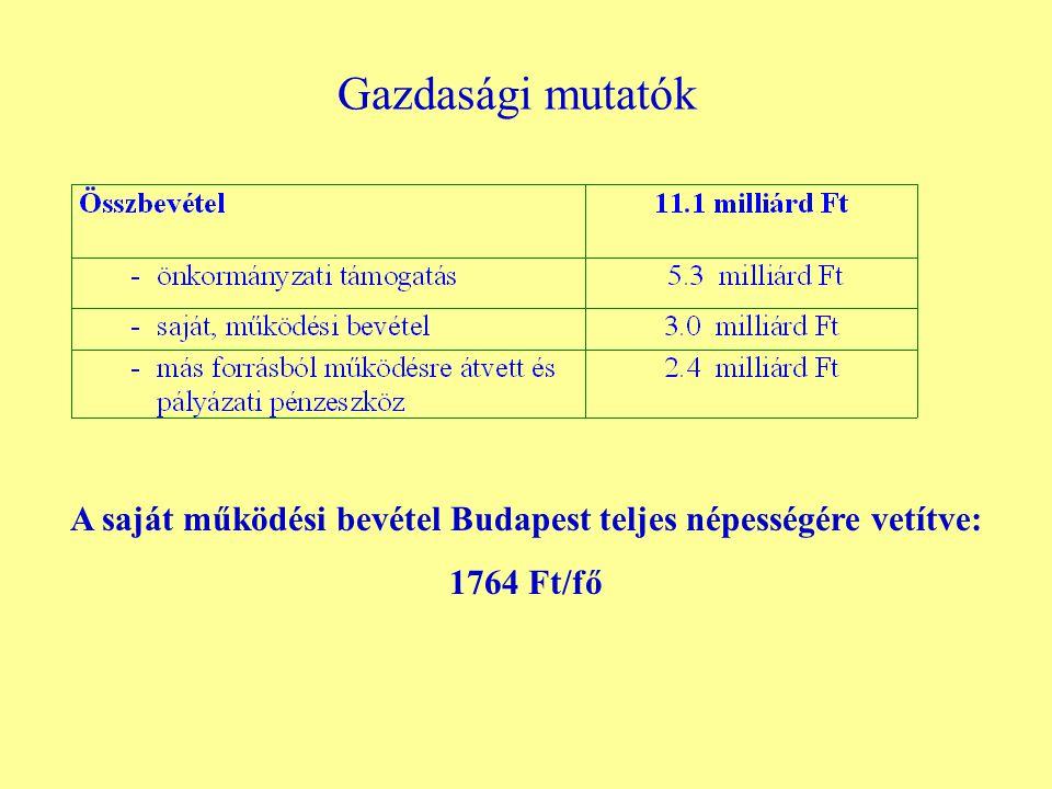 Gazdasági mutatók A saját működési bevétel Budapest teljes népességére vetítve: 1764 Ft/fő