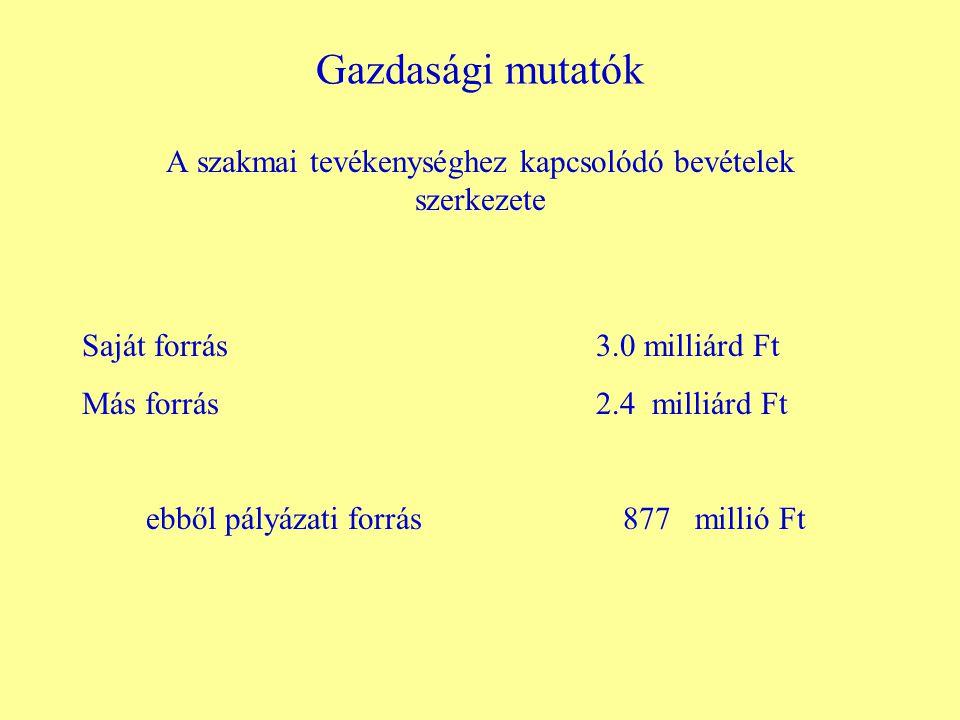 Gazdasági mutatók A szakmai tevékenységhez kapcsolódó bevételek szerkezete Saját forrás 3.0 milliárd Ft Más forrás 2.4 milliárd Ft ebből pályázati forrás 877 millió Ft