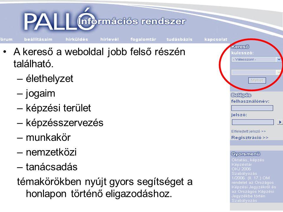 A kereső a weboldal jobb felső részén található.