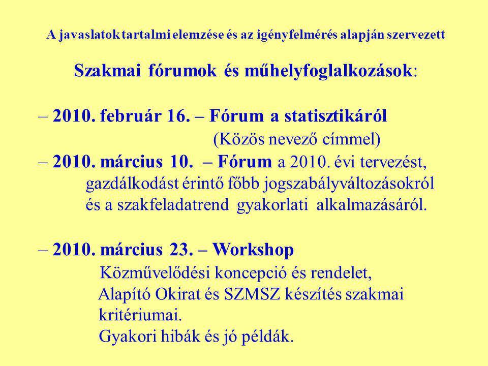 A javaslatok tartalmi elemzése és az igényfelmérés alapján szervezett Szakmai fórumok és műhelyfoglalkozások: – 2010.