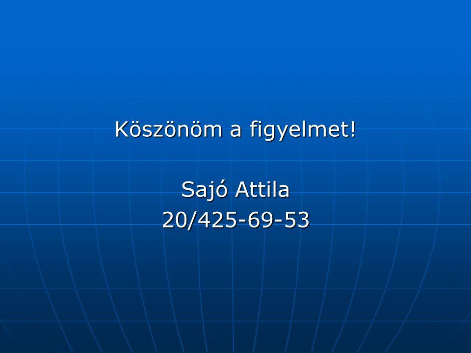 Köszönöm a figyelmet! Sajó Attila 20/425-69-53