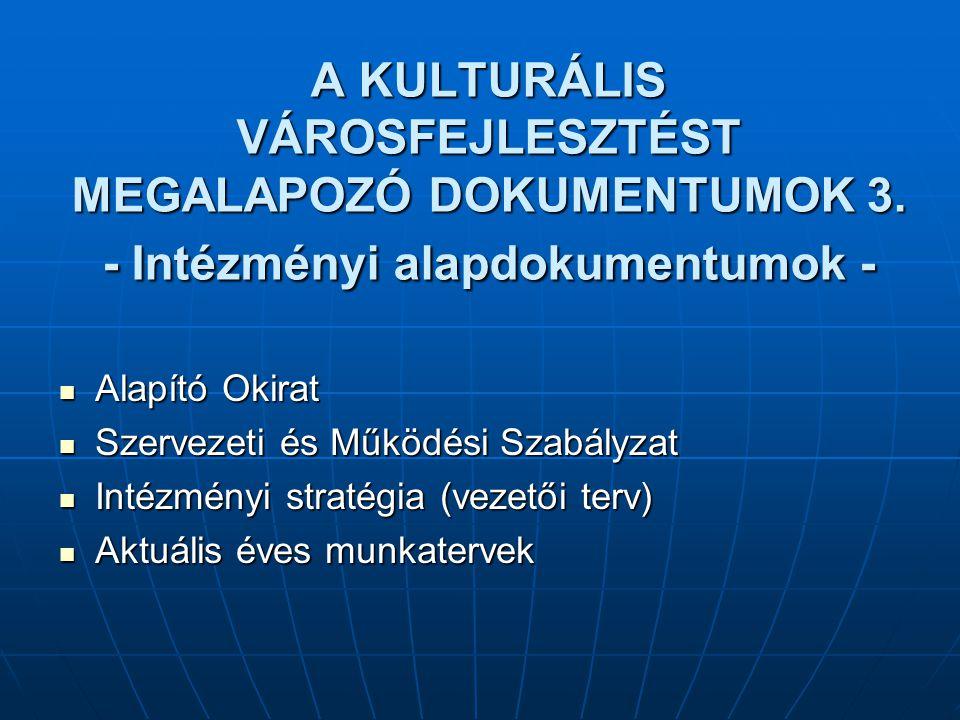 A KULTURÁLIS VÁROSFEJLESZTÉST MEGALAPOZÓ DOKUMENTUMOK 3. - Intézményi alapdokumentumok - Alapító Okirat Alapító Okirat Szervezeti és Működési Szabályz