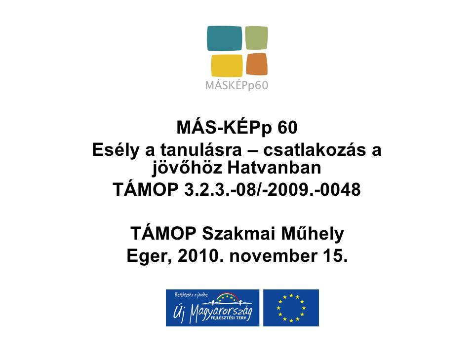 MÁS-KÉPp 60 Esély a tanulásra – csatlakozás a jövőhöz Hatvanban TÁMOP 3.2.3.-08/-2009.-0048 TÁMOP Szakmai Műhely Eger, 2010. november 15.