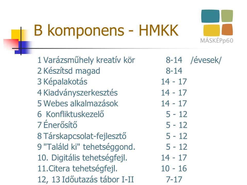 B komponens - HMKK 1Varázsműhely kreatív kör 8-14 /évesek/ 2Készítsd magad 8-14 3Képalakotás14 - 17 4Kiadványszerkesztés14 - 17 5Webes alkalmazások14