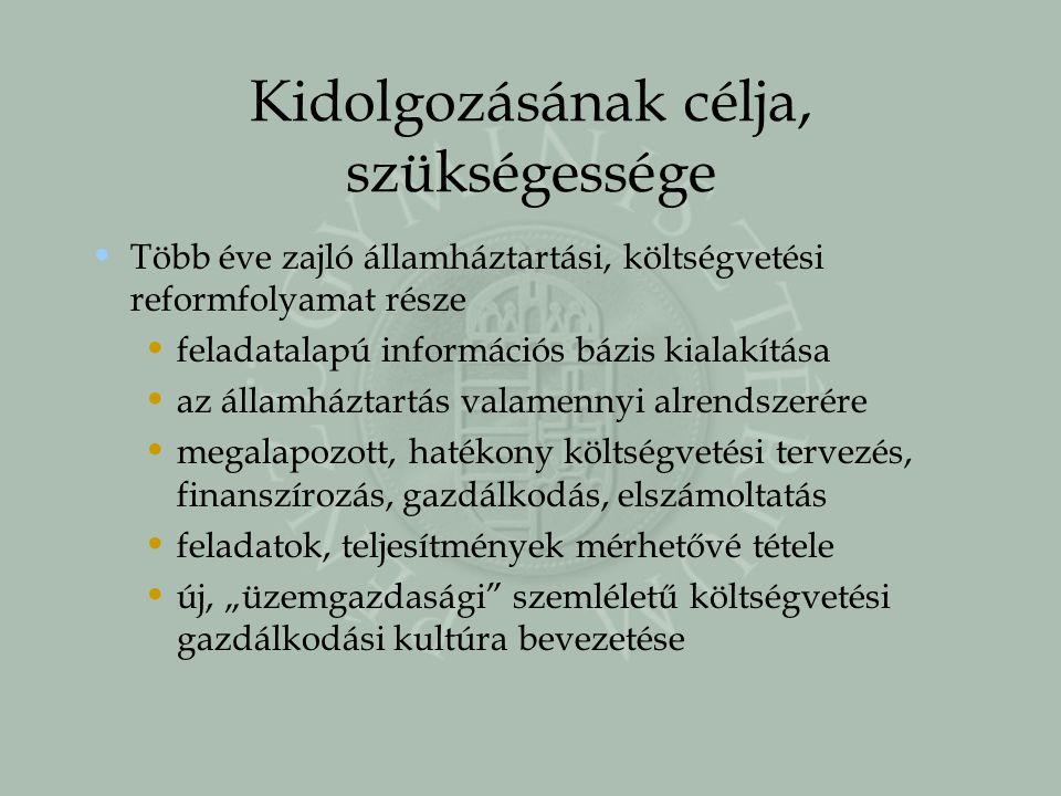 Kidolgozásának célja, szükségessége Több éve zajló államháztartási, költségvetési reformfolyamat része feladatalapú információs bázis kialakítása az á