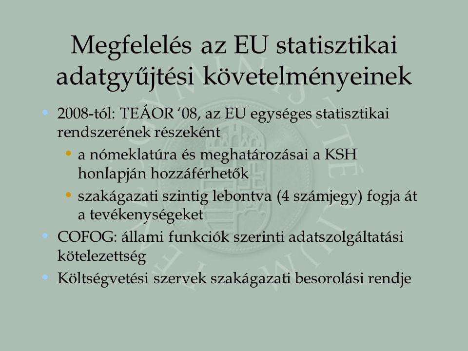Megfelelés az EU statisztikai adatgyűjtési követelményeinek 2008-tól: TEÁOR '08, az EU egységes statisztikai rendszerének részeként a nómeklatúra és m