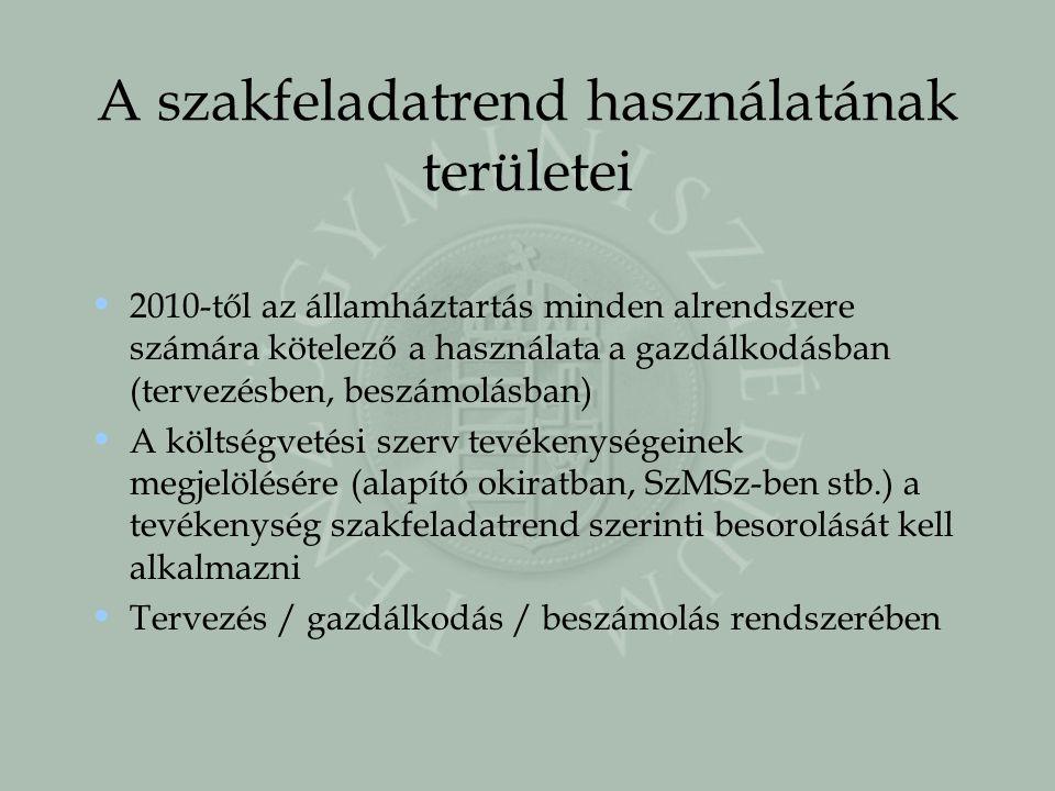 A szakfeladatrend használatának területei 2010-től az államháztartás minden alrendszere számára kötelező a használata a gazdálkodásban (tervezésben, b