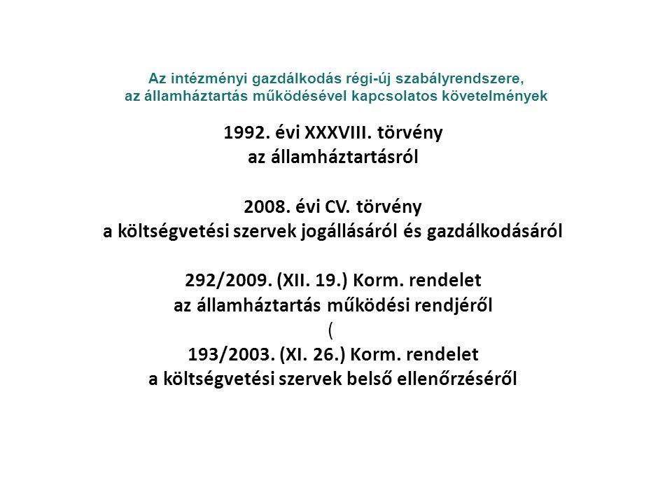 Az intézményi gazdálkodás régi-új szabályrendszere, az államháztartás működésével kapcsolatos követelmények 1992.