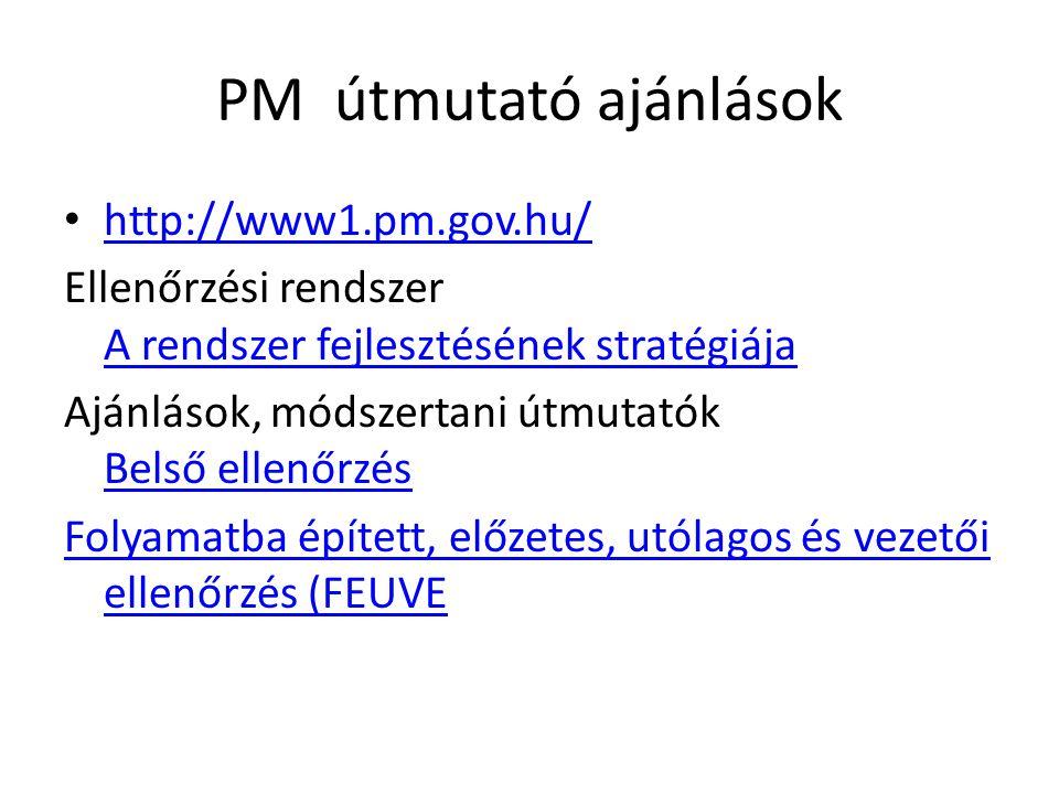 PM útmutató ajánlások http://www1.pm.gov.hu/ Ellenőrzési rendszer A rendszer fejlesztésének stratégiája A rendszer fejlesztésének stratégiája Ajánlások, módszertani útmutatók Belső ellenőrzés Belső ellenőrzés Folyamatba épített, előzetes, utólagos és vezetői ellenőrzés (FEUVE