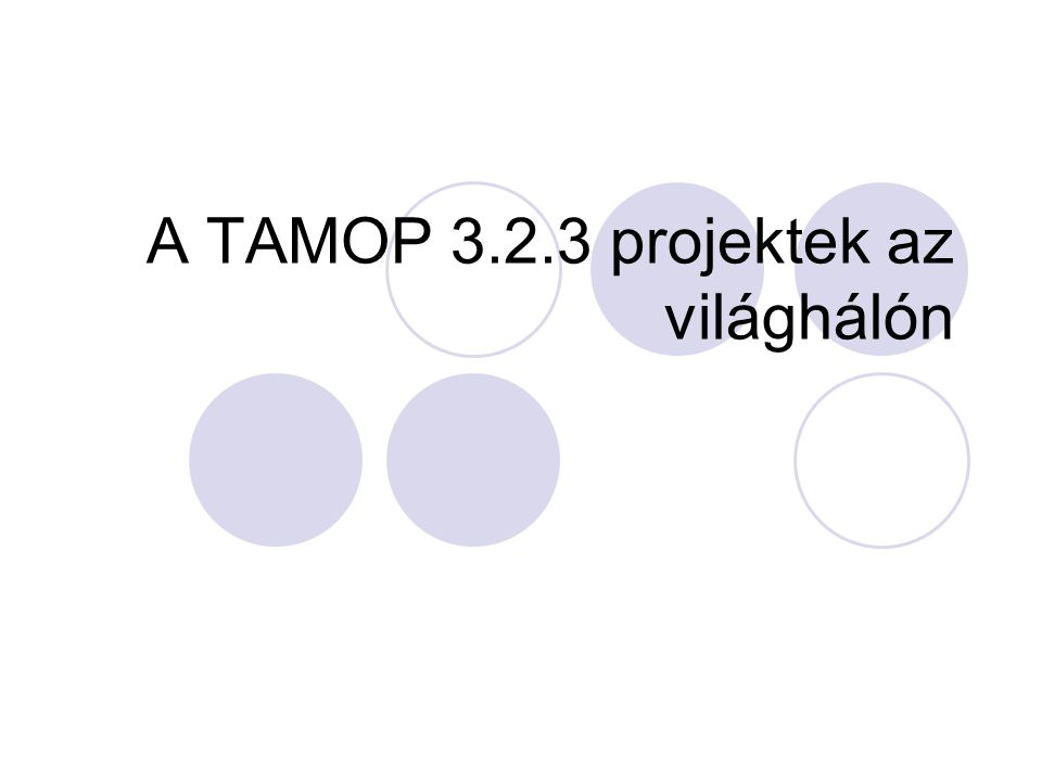 A TAMOP 3.2.3 projektek az világhálón