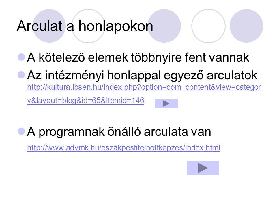 Arculat a honlapokon A kötelező elemek többnyire fent vannak Az intézményi honlappal egyező arculatok http://kultura.ibsen.hu/index.php?option=com_con