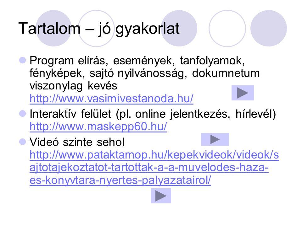 Tartalom – jó gyakorlat Program elírás, események, tanfolyamok, fényképek, sajtó nyilvánosság, dokumnetum viszonylag kevés http://www.vasimivestanoda.