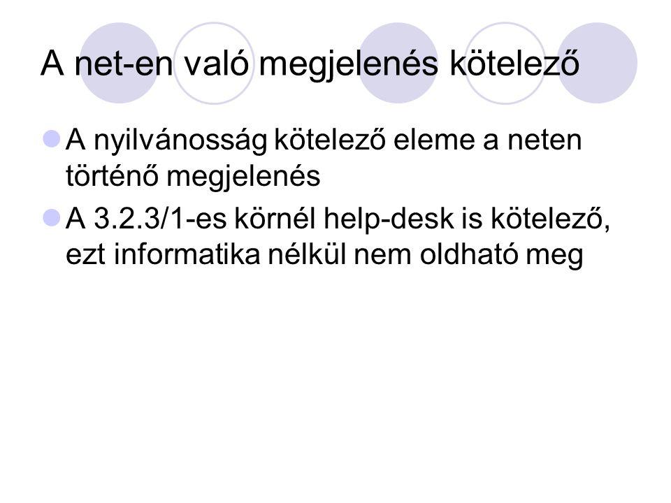 A net-en való megjelenés kötelező A nyilvánosság kötelező eleme a neten történő megjelenés A 3.2.3/1-es körnél help-desk is kötelező, ezt informatika