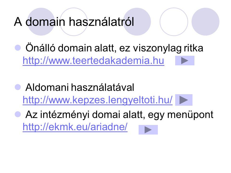 A domain használatról Önálló domain alatt, ez viszonylag ritka http://www.teertedakademia.hu http://www.teertedakademia.hu Aldomani használatával http
