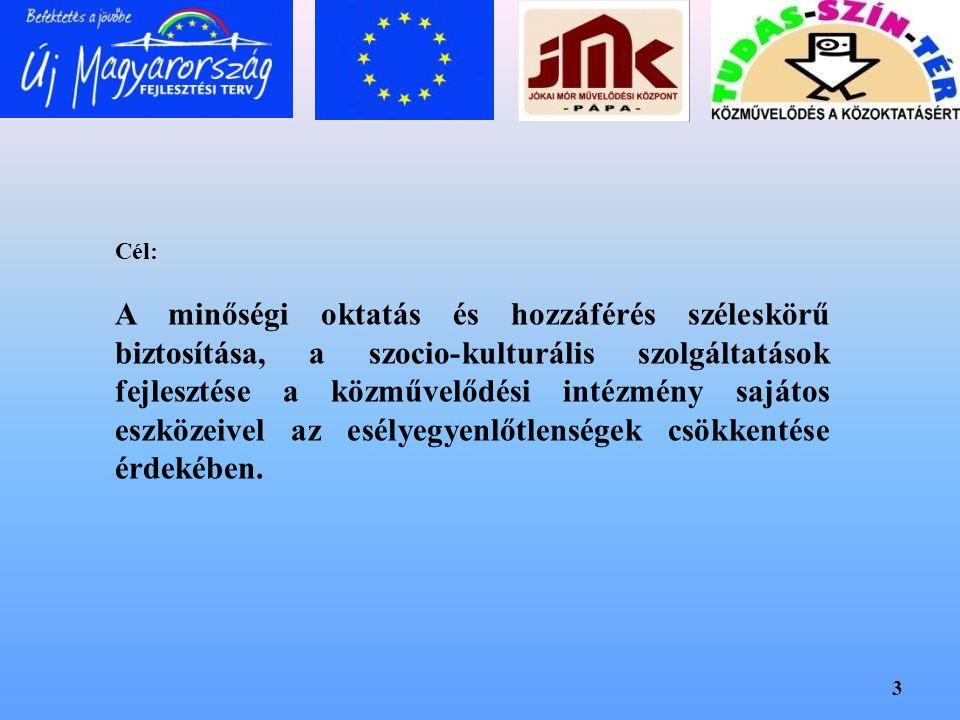 3 Cél: A minőségi oktatás és hozzáférés széleskörű biztosítása, a szocio-kulturális szolgáltatások fejlesztése a közművelődési intézmény sajátos eszkö